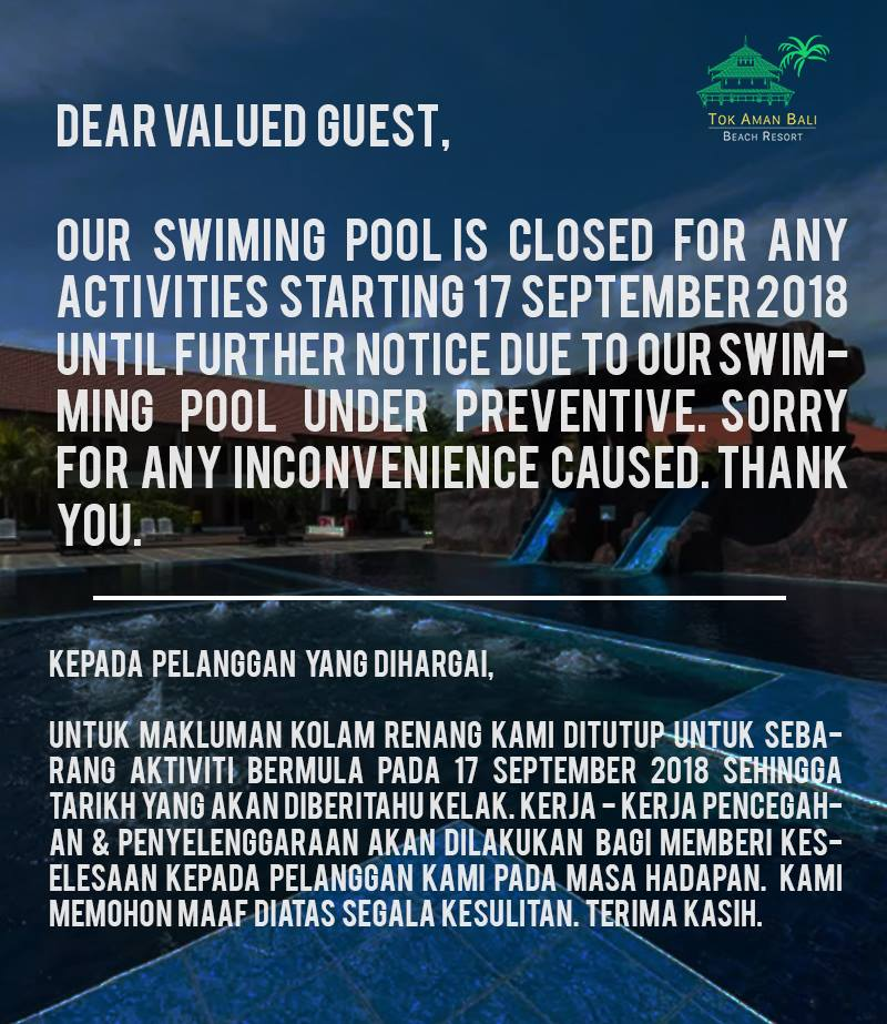 Tok Aman Bali Beach Resort_Swimming Pool Closure
