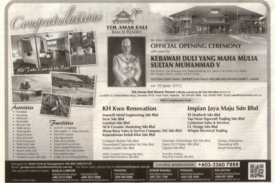 Tok Aman Bali Beach Resort Kelantan The Star Official Opening Ceremony