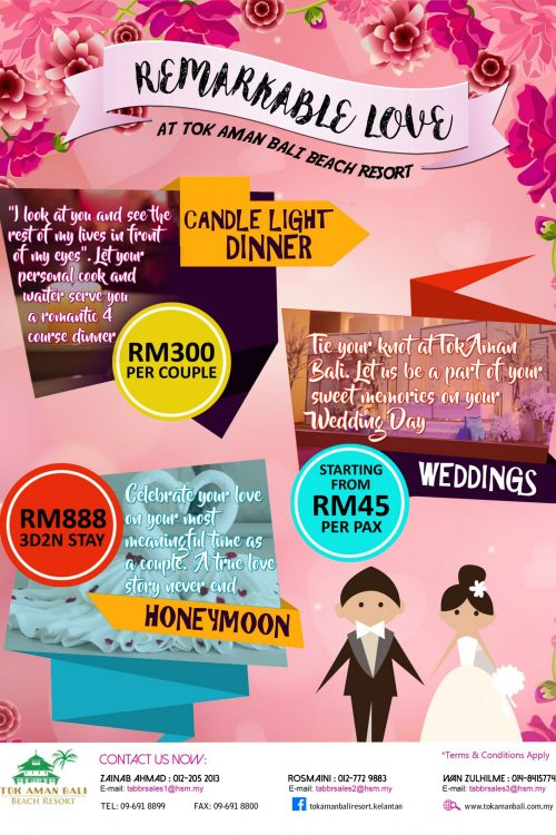 Tok Aman Bali Beach Resort Kelantan Wedding Love Package
